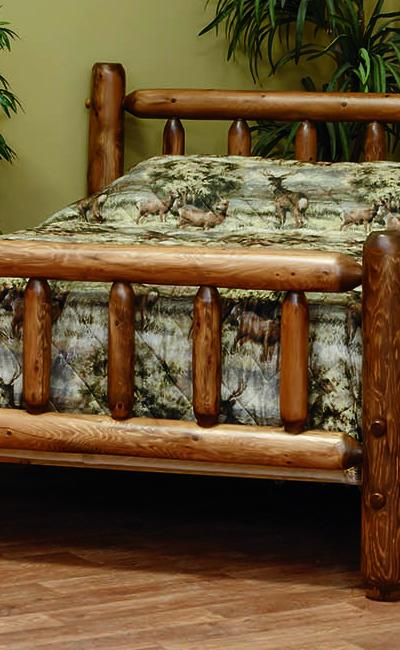 Countryside Rustic Log Classic Style Bedroom Set w/ Stain