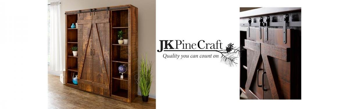 JK Pine Craft Barn Door Bookcase