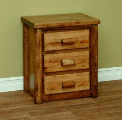 Countryside Rustic Log Three Drawer Nightstand