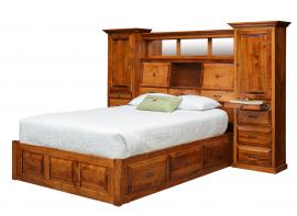 Mt. Eden Woodworks Queen Bed with Attached Wall Unit and Drawers
