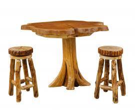 Countryside Rustic Log Live Edge Pub Dining Set