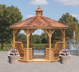 Kinzer Woodworking 12 ft. Kinzer Gazebo w/ 6 Gliders