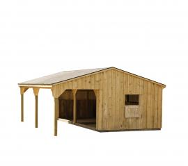 J&N Structures 12x24 Run-in Shed w/ Lean To Drop Vent