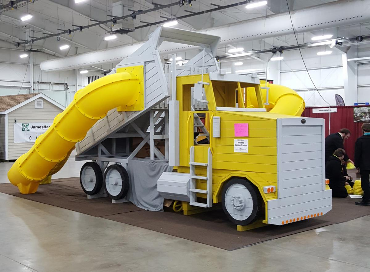 Kinzer Woodworking's Painted Playset resembling dump truck